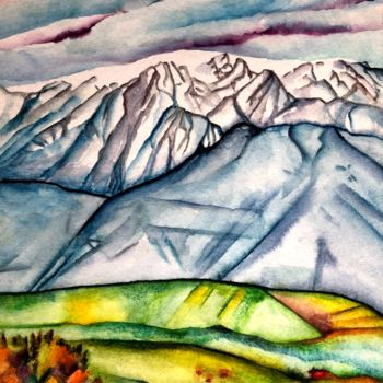 """Painting titled """"Environs de Grenoble"""" by Anne Brigaud, Original Art,"""