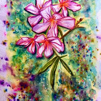 """Painting titled """"Laurier rose"""" by Anne Brigaud, Original Art,"""