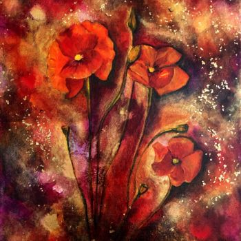 """Painting titled """"Rouge"""" by Anne Brigaud, Original Art,"""