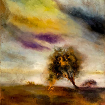 """Painting titled """"Arbre penché"""" by Anne Brigaud, Original Art, Oil"""