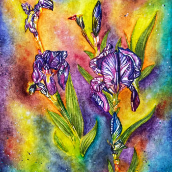 """Painting titled """"Quelques iris"""" by Anne Brigaud, Original Art, Watercolor"""