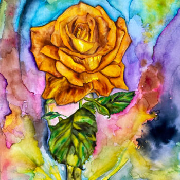"""Painting titled """"Soliflore à rose or…"""" by Anne Brigaud, Original Art, Watercolor"""