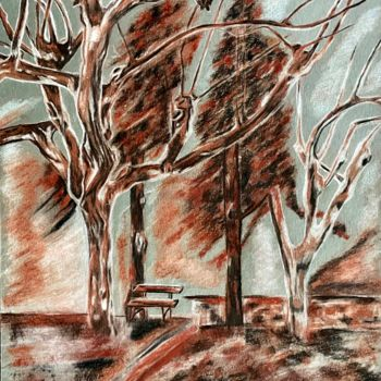 """Painting titled """"Forêt sanguine"""" by Anne Brigaud, Original Art, Charcoal"""