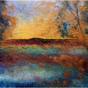 """Painting titled """"Couchant d'or"""" by Anne Brigaud, Original Art,"""