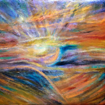 """Painting titled """"Champ courbe aux ra…"""" by Anne Brigaud, Original Art,"""