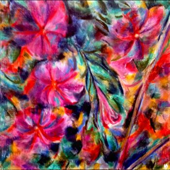 """Painting titled """"Compagnie d'hibiscus"""" by Anne Brigaud, Original Art,"""