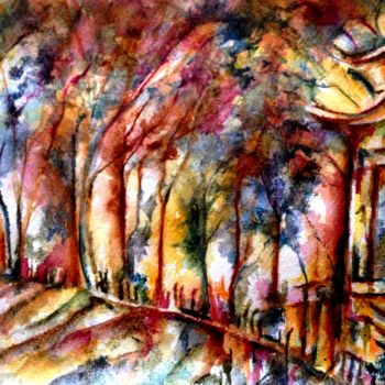 """Painting titled """"Pagode"""" by Anne Brigaud, Original Art,"""