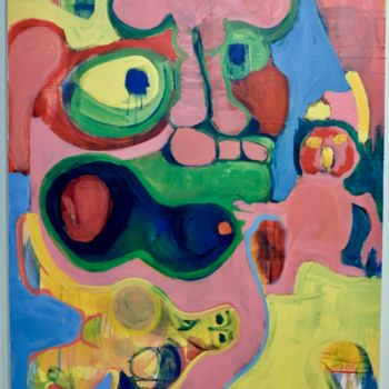 """Painting titled """"Monster with a Pink…"""" by Anne-Marie Delaunay-Danizio, Original Art, Acrylic"""