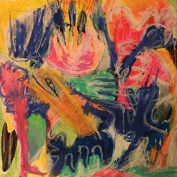 """Drawing titled """"Lost in Paradise"""" by Anne-Marie Delaunay-Danizio, Original Art, Pastel Mounted on Cardboard"""