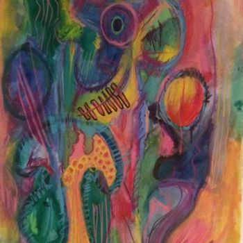 """Drawing titled """"The Swamp"""" by Anne-Marie Delaunay-Danizio, Original Art, Watercolor Mounted on Cardboard"""