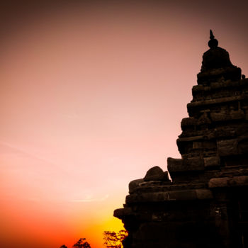 """Photography titled """"Sunset Temple Silho…"""" by Ak, Original Art, Digital Photography"""