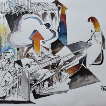 """Painting titled """"Theodatacenter of H…"""" by Roman Bonchuk, Original Art, Ink"""