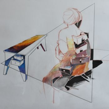 """Painting titled """"Table by Plato"""" by Roman Bonchuk, Original Art, Ink"""
