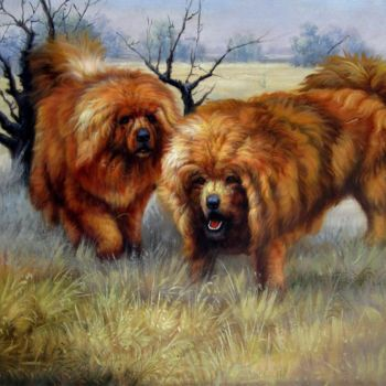 """Painting titled """"Two tibetan mastiff…"""" by James Shang, Original Art, Oil Mounted on Stretcher frame"""