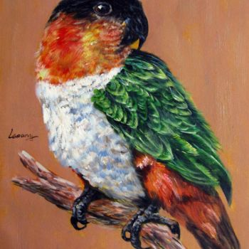 """Painting titled """"Parrot #201"""" by James Shang, Original Art, Oil Mounted on Stretcher frame"""