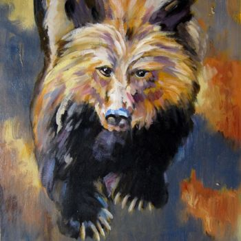 """Painting titled """"Bear #102"""" by James Shang, Original Art, Oil Mounted on Stretcher frame"""