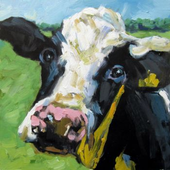 """Painting titled """"Cow #101D"""" by James Shang, Original Art, Oil Mounted on Stretcher frame"""