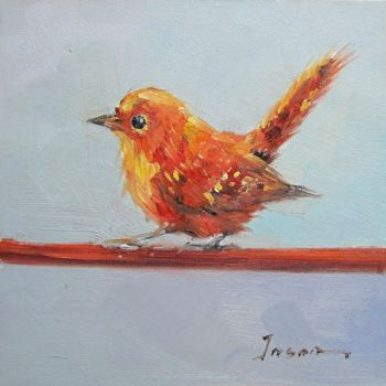 """Painting titled """"Sparrow #102"""" by James Shang, Original Art, Oil Mounted on Stretcher frame"""
