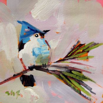 """Painting titled """"Sparrow #103"""" by James Shang, Original Art, Oil Mounted on Stretcher frame"""