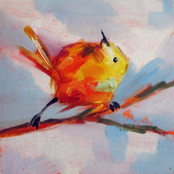 """Painting titled """"Sparrow #105"""" by James Shang, Original Art, Oil Mounted on Stretcher frame"""