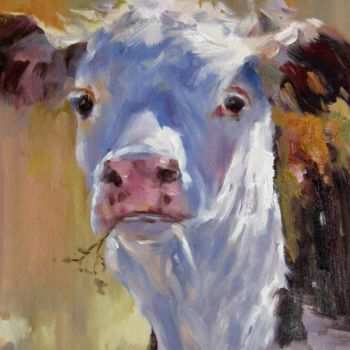 """Painting titled """"Cow #206"""" by James Shang, Original Art, Oil Mounted on Stretcher frame"""