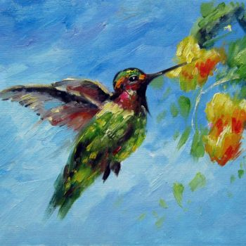"""Painting titled """"Hummingbird #108"""" by James Shang, Original Art, Oil Mounted on Stretcher frame"""