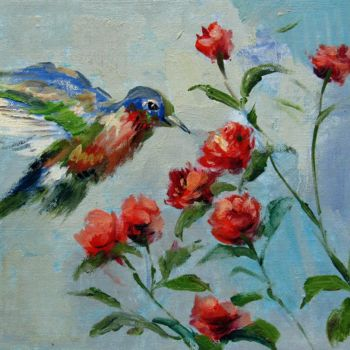 """Painting titled """"Hummingbird #109"""" by James Shang, Original Art, Oil Mounted on Stretcher frame"""