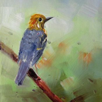 """Painting titled """"Sparrow #005"""" by James Shang, Original Art, Oil Mounted on Stretcher frame"""