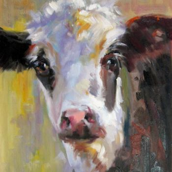 """Painting titled """"Cow #207"""" by James Shang, Original Art, Oil Mounted on Stretcher frame"""
