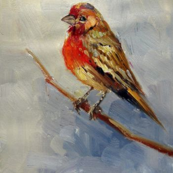"""Painting titled """"Sparrow #006"""" by James Shang, Original Art, Oil Mounted on Stretcher frame"""