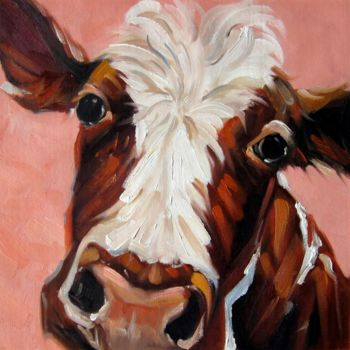"""Painting titled """"Cow #001"""" by James Shang, Original Art, Oil Mounted on Stretcher frame"""