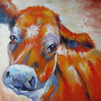 """Painting titled """"Cow #004"""" by James Shang, Original Art, Oil Mounted on Stretcher frame"""