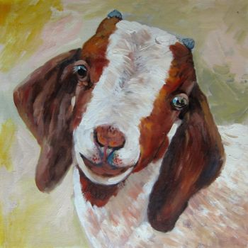 """Painting titled """"Sheep #202"""" by James Shang, Original Art, Oil Mounted on Stretcher frame"""