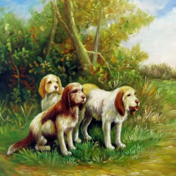 """Painting titled """"Dog #102"""" by James Shang, Original Art, Oil Mounted on Stretcher frame"""