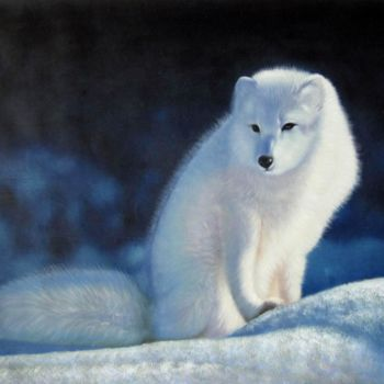 """Painting titled """"Fox #001"""" by James Shang, Original Art, Oil Mounted on Stretcher frame"""
