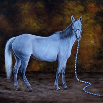 """Painting titled """"Horse #101D"""" by James Shang, Original Art, Oil Mounted on Stretcher frame"""