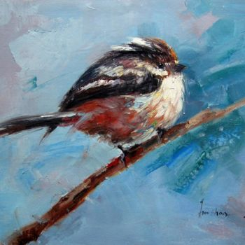 """Painting titled """"Sparrow #504"""" by James Shang, Original Art, Oil Mounted on Stretcher frame"""