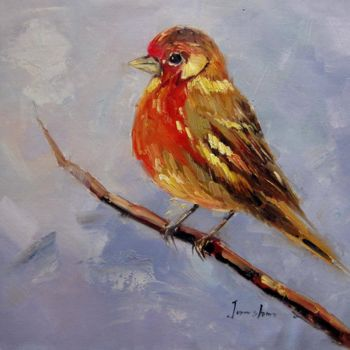 """Painting titled """"Sparrow #505"""" by James Shang, Original Art, Oil Mounted on Stretcher frame"""