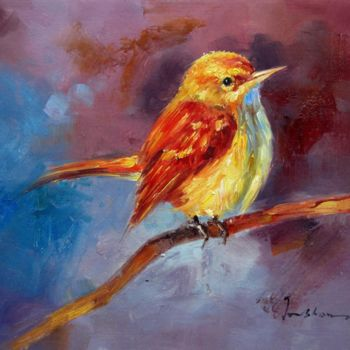 """Painting titled """"Sparrow #508"""" by James Shang, Original Art, Oil Mounted on Stretcher frame"""