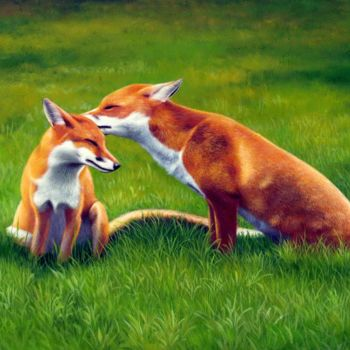 """Painting titled """"Pet fox 001"""" by James Shang, Original Art, Oil Mounted on Stretcher frame"""