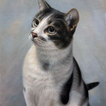 """Painting titled """"Portrait pet cat 016"""" by James Shang, Original Art, Oil Mounted on Stretcher frame"""