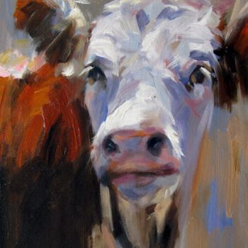 """Painting titled """"Cow #510"""" by James Shang, Original Art, Oil Mounted on Stretcher frame"""