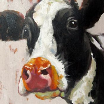 """Painting titled """"Cow #512"""" by James Shang, Original Art, Oil Mounted on Stretcher frame"""