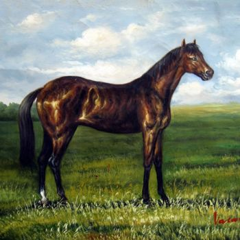 Horse Painting, oil, artwork by James Shang