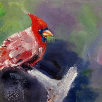 """Painting titled """"Cardinal #102"""" by James Shang, Original Art, Oil Mounted on Stretcher frame"""