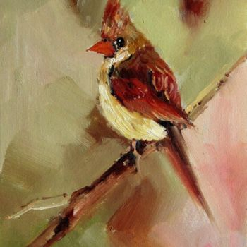 """Painting titled """"Cardinal #103"""" by James Shang, Original Art, Oil Mounted on Stretcher frame"""