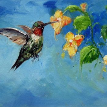 """Painting titled """"Hummingbird #201"""" by James Shang, Original Art, Oil Mounted on Stretcher frame"""