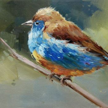 """Painting titled """"Sparrow #202"""" by James Shang, Original Art, Oil Mounted on Stretcher frame"""