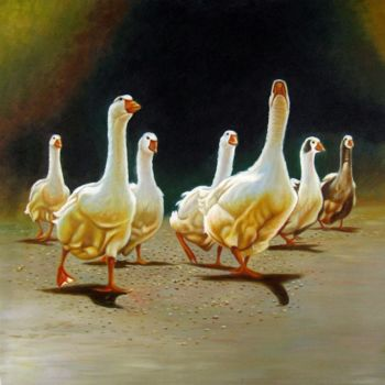"""Painting titled """"Goose 001D"""" by James Shang, Original Art, Oil Mounted on Stretcher frame"""
