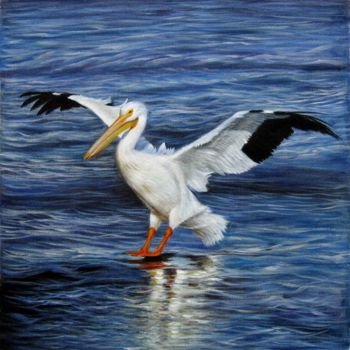 """Painting titled """"Pelican 001D"""" by James Shang, Original Art, Oil Mounted on Stretcher frame"""
